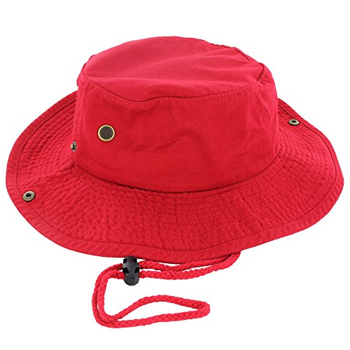 100 percentage Cotton Boonie Fishing Bucket Hat with String, Red, L and XL -