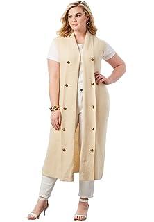 7821940a563f5 Roamans Women s Plus Size Open Front Flyaway Vest at Amazon Women s ...