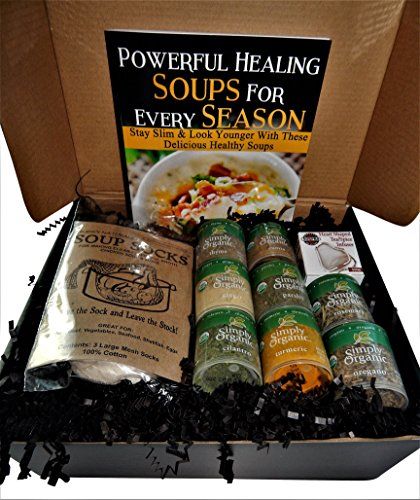 Gourmet Organic Spices Gift Set of 8 Spices with Natural Soup Sock & Mesh Heart Shaped Spice Infuser - Gluten Free, No-MSG, Non-GMO - Gift For Any Occasion with Powerful Healing Soups Recipe Book