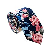 Floral Paisely Ties for Men - Cool Mens Neckties - Floral - Navy, Baby Blue & Pink