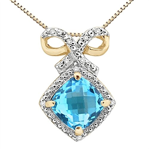 Aa Pendant Topaz Diamond Blue - 2.50Ct Cushion Shaped Blue Topaz and Diamond Pendant in 10K Yellow Gold