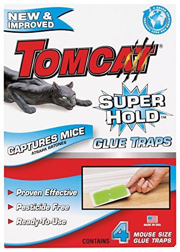Tomcat Super Hold Mouse Size Glue Traps, 4-Pack (Super Hold Formula)