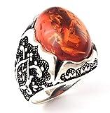 Luxury 925 Sterling Silver Turkish Handmade Ottoman Created Amber Men's Ring (9)