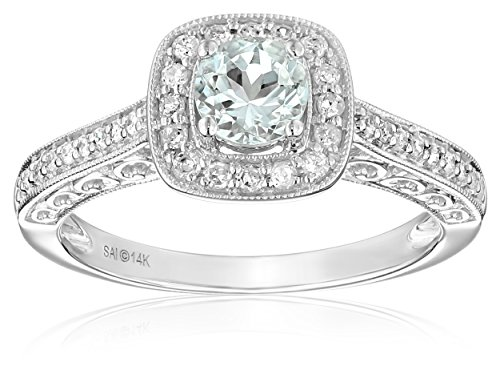 14k White Gold Aquamarine and Diamond Ring (1/4 cttw, H-I Color, I2-I3 Clarity), Size 7 by Amazon Collection
