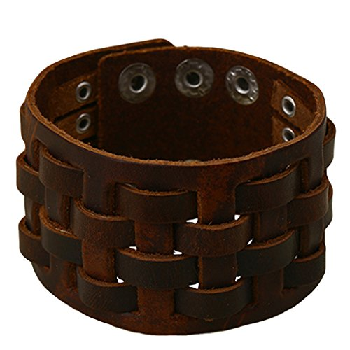 Jiayiqi Femmes Hommes Mode Manuel Armure Vachette Cuir Bracelet Manchette Bracelet Gourmette