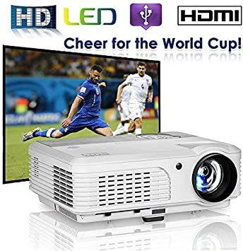 LCD Projector, EUG 4400 Lux LED Home Movie Gaming Projector 1280x800 Native 2 HDMI/2 USB/Ypbpr/Audio/VGA/AV Digital HD Proyector Portable Compatible ...