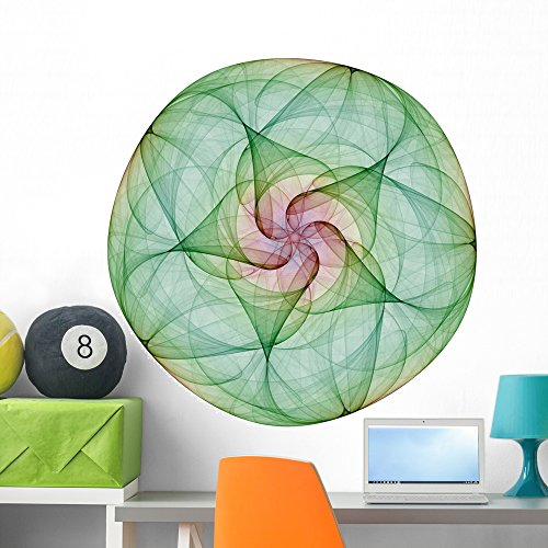 Wallmonkeys  Green Mandala Peel and Stick Wall Decals