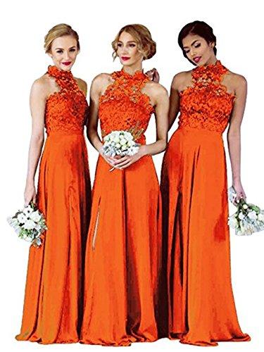2018 Long Wedding Lace Women's Orange Bridal Anna's Bridesmaid Dress Dresses Party qYOI0w
