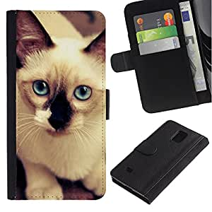 All Phone Most Case / Oferta Especial Cáscara Funda de cuero Monedero Cubierta de proteccion Caso / Wallet Case for Samsung Galaxy Note 4 IV // Siamese Cat White Blue Feline