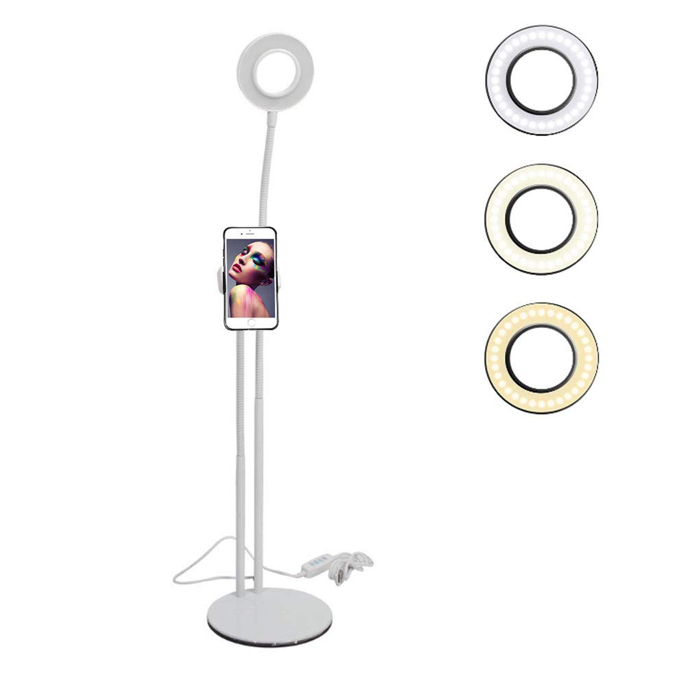 Aolvo 2IN1 Selfie Ring Light with Cell Phone Holder Stand,Dimmable LED Lazy Bracket Table Lamp for Makeup and Live Stream with IPhone/Android (White)
