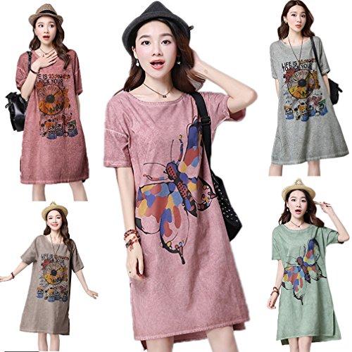 Loose Imprime Chemise Robe Lin Kaki Papillon Femme Bigood Coton nSqawBPap