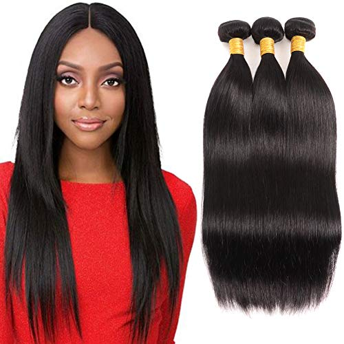 Huarisi 3 Bundles Straight Hair 16 18 20 Inches Straight Brazilian Hair Weaves 8A Grade Virgin Human Hair Extensions Deals Double Weft Natural Color For Braiding -
