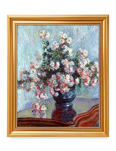 Pink Brown Wall Decor (DecorArts - Chrysanthemums, Claude Monet Art Reproduction. Giclee Print& Museum Quality Framed Art for Wall Decor.)