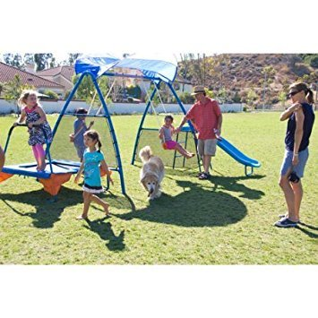Kids Outdoor Playground Includes Trampoline, Swings and S...