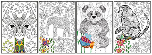 Zorbitz 2618 Joy of Coloring Adult Coloring Posters 4/Pkg-Artistic Animals