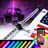led light antenna - Xprite 5ft (1.5M) LED RGB Whip Lights Flag Pole Safety Antenna W/Bluetooth Control and Adjustable Colors For Sand Dune Buggy UTV ATV 4X4 Side By Sides Trophy Truck Jeep