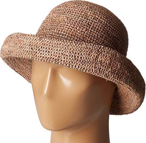 San Diego Hat Company Women's RHM6005 Crochet Raffia Pinched Crown Fedora Hat Nougat One Size (Raffia Crochet Hat)