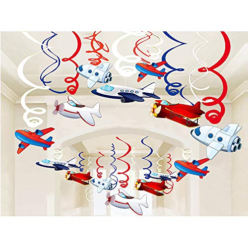 Airplane Birthday Party Supplies Hanging Decorations - 30pcs Outer Space/Airplane Baby Shower Birthday Party Decorations for -