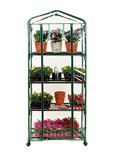 Cst Tier - PierSurplus 2.3 ft. W x 5.25 ft. H 4-Tier Greenhouse with Transparent PVC Cover and Caster Wheels Product SKU: GH070416