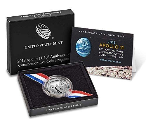 (2019 S Apollo 11 50th Anniversary Curved Commemorative Coin Program Clad Half Dollar Mint Packaged US Mint)