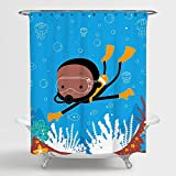 African American Shower Curtain Art for Kids Bathroom Decor with Boy Swimming Scuba Diving in Blue sea Tapestry with Goggles Free Rings 70X72 inches 100% Polyester Water Resistant Metal Grommets