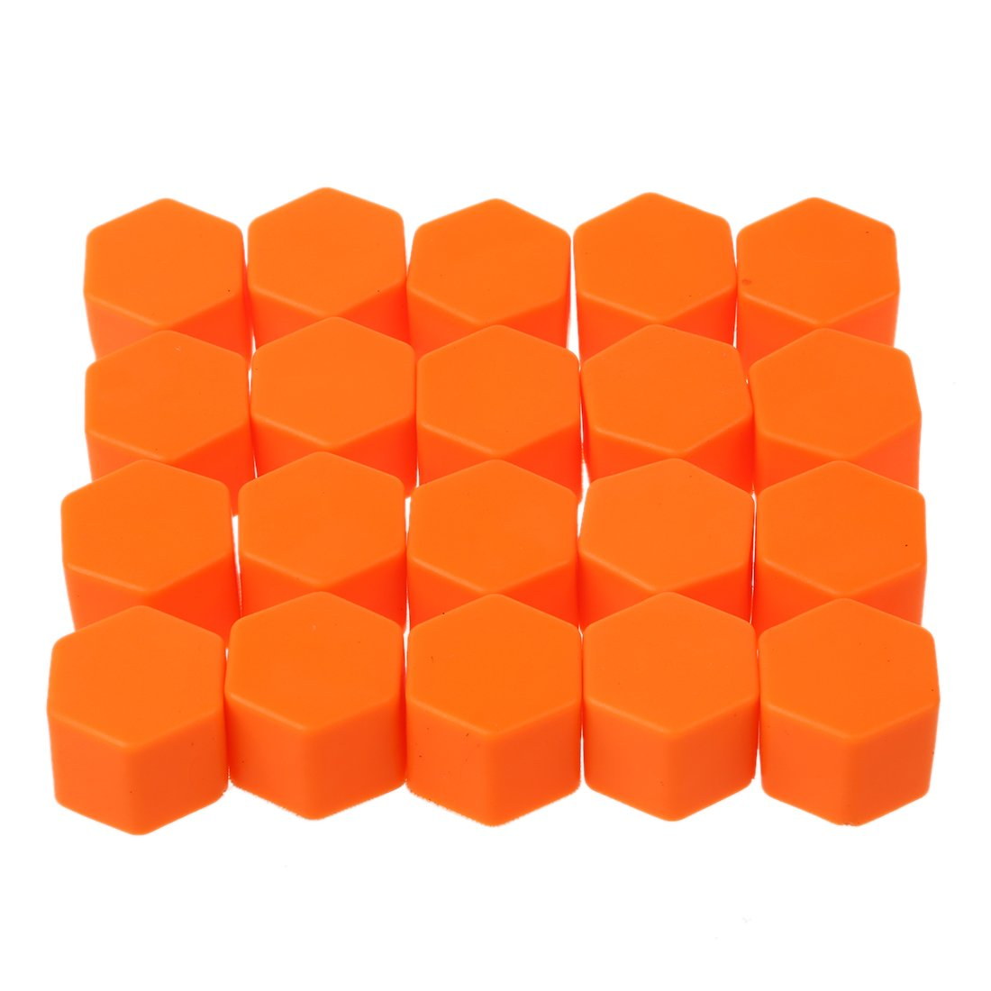 TOOGOO(R) New Arrival 20 Units 19mm Silicone Car Wheel Rims External Screws Nut Screws Car Covers Caps Orange 103548A6