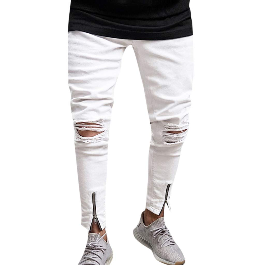 Sunmoot Clearance Sale Fashion White Cotton Hole Jeans Casual Denim Pencil Pants Jogger Chino Trousers by Sunmoot Clearance Sale