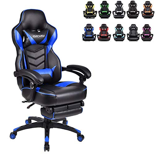 ELECWISH Ergonomic Computer Gaming Chair, PU Leather High Back Office Racing Chairs with Widen...