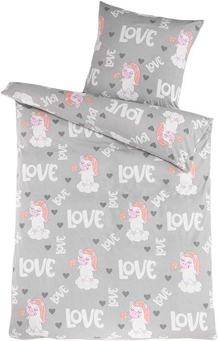 Dreamhome24 100% algodón Juego de sábanas niña Unicornio Princesa ...