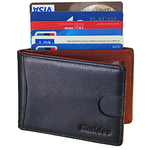 Simideo Men's Wallet Slim Mens Wallet Minimalist TOP-GRAIN Genuine Leather Wallet for Front Pocket RFID Blocking Card Holder, Ultra-slim Wallet Hold 10 Cards with RFID Blocking ()