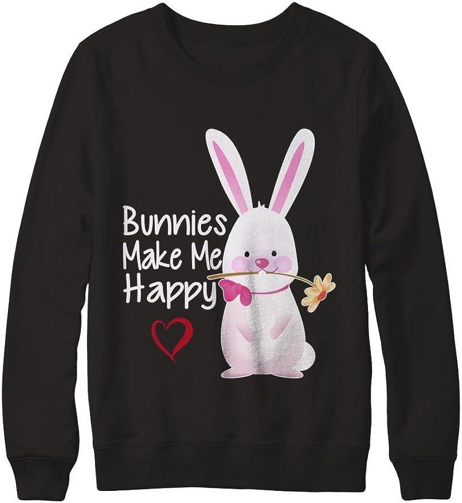 Pullover Sweatshirt Teely Shop Men/'s Womans Bunnies Make Me Happy Cute Bunny Rabbit Gildan