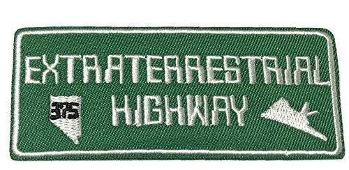 Extraterrestrial Highway - HWY 375 - Embroidered Patch - X-Files Type - Logo UFO Saucer Alien Aliens Science Fiction Humor Comics Comedy Horror Iron-on Sew-on Emblem Badge DIY Appliques Application