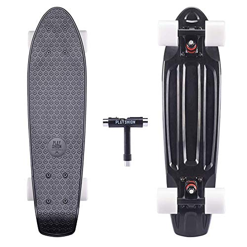 Playshion Complete 22 Inch Mini Cruiser Skateboard for Beginner with Sturdy Deck Black ()