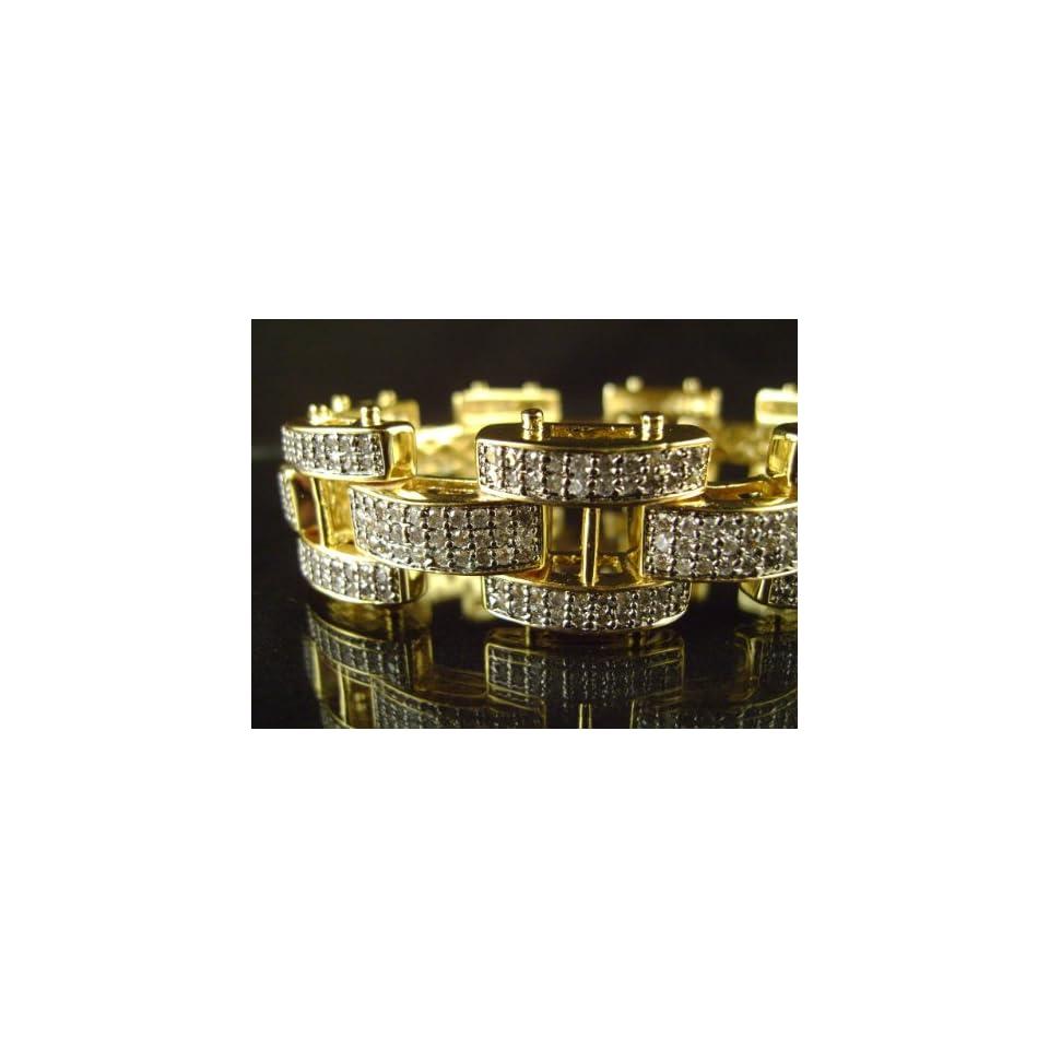 MENS 14K GOLD FINISH DIAMOND SIMULATE BRACELET 9 NEW