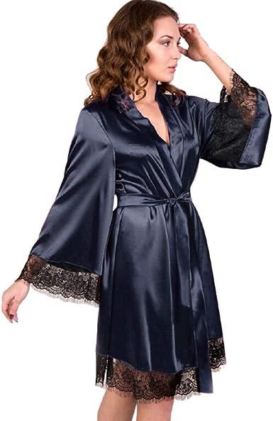 Kimonos Mujer Batas Ropa de Dormir Sexy para Mujer Ropa Interior de Encaje Tentación Cinturón Camisón Cárdigan Bata de baño: Amazon.es: Ropa y accesorios