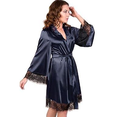 b6136c5f6cf Women s Long Sleeve Kimono Robe Sexy Lace Lingerie Bathrobe Sleepwear  Pajama Babydoll Bow Belt Nightwear Sleepsuit at Amazon Women s Clothing  store