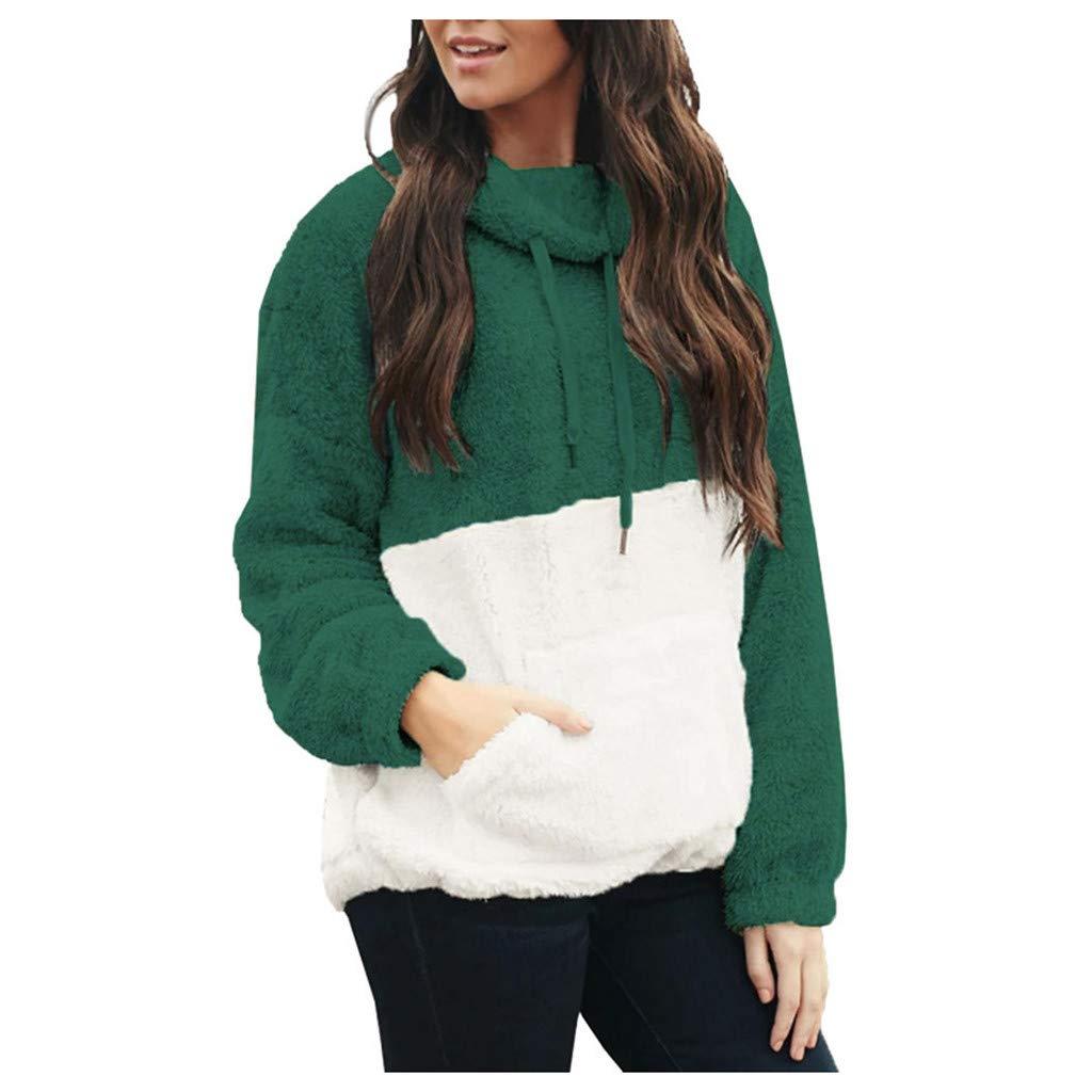 SHUSUEN Women Colorblock Patchwork Sweatshirts Long Sleeve Fluffy Sherpa Fleece Pullover with Pockets Green by SHUSUEN