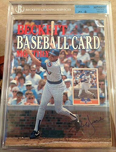 (Mark Grace Johnny Bench Dual Autographed Signed Baseball Beckett Magazine March 1989 JSA - Authentic Memorabilia)