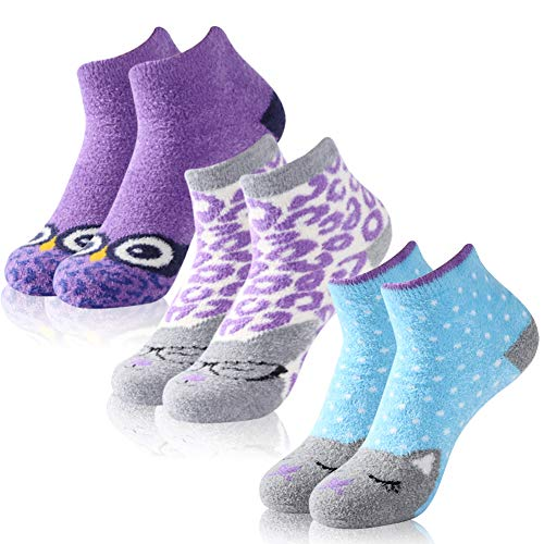 Crazy Animal Socks,Womens Girls Silky Plush Soft Cartoon Cat Owl Patterned Nonskid Casual Slipper Socks Nice Gift Vive Bears 3 Pairs