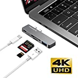 Aluminum USB C Hub Type C Multiport Adapter for 2016/2017 MacBook Pro Hub Adapter with Thunderbolt 3 port, SD card reader, TF/Micro SD card reader, USB 3.0 Port by FEERGENE OneOdio (Space Gray)