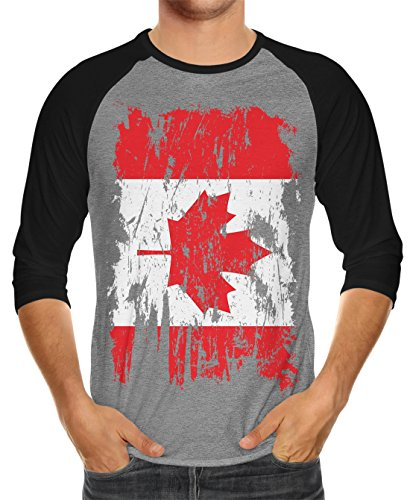 Distressed Canada Flag Unisex 3/4 Raglan Shirt, Black/Heather XL ()