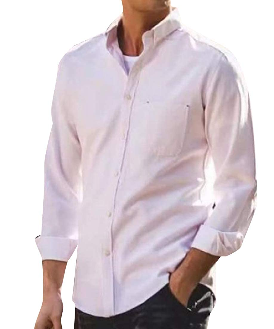 YUNY Mens Point Collar Slim Casual Business Shirts with Pockets White L