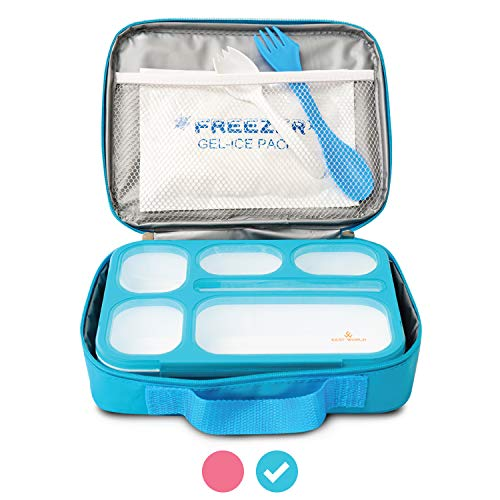 - East World Bento Box Meal Prep and Food Storage Containers - Leak Proof Bento Boxes for Adults and Kids - With Lunch Bag, Cold Pack AND Cutlery! BPA Free Portion Control Container, Adult Lunch Box