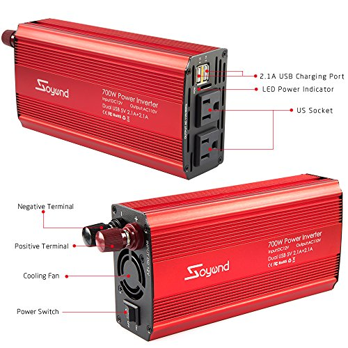 Car Power Inverter 700W Car Inverter DC 12V to 110V AC Converter Devel Car Charger Adapter 4.2A Dual USB Ports for Laptop, Smart Phone(Red_700W) by Soyond (Image #4)