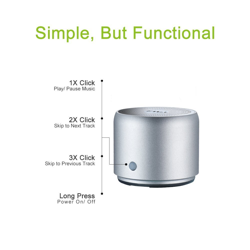 EWA A106 Portable Mini Bluetooth Speaker with Passive Radiator, Powerful Sound, Enhanced Bass, Tiny Body Loud Voice, Perfect Wireless Speaker For Shower, Travel, Outdoor, Echo Dot, Hiking and More by Ewa (Image #3)