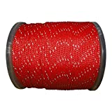 Hollow Braid Polyethylene Rope (1/2 inch) - SGT KNOTS - 100% High-Grade Polyethylene Cord with Reflective Tracers - Path Marking, Ski Slopes, Outdoor Concerts, Crafting (50 feet - Coil - Red)