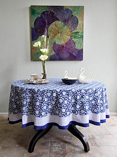 (Saffron Marigold Midnight Lotus Floral Blue 70 Round Tablecloth | Hand Printed | 100% Cotton | Stain Camouflaging | Kitchen Dining Room Cobalt Jacobean Asian Printed Banquet Table Cloth)