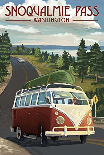 Snoqualmie Pass  Washington   Vw Van And Lake  12X18 Signed Print Master Art Print W  Certificate Of Authenticity   Wall Decor Travel Poster