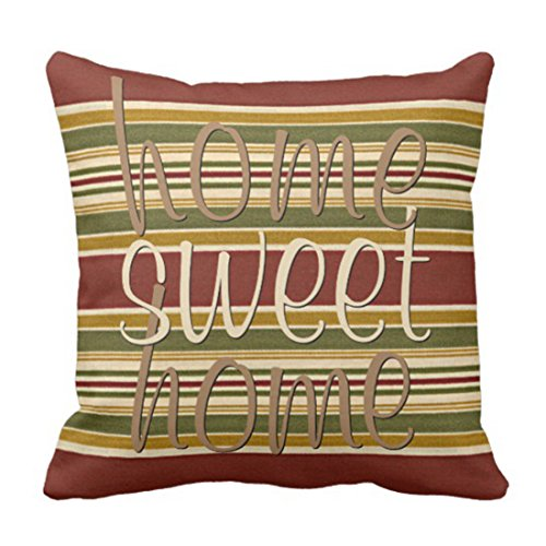 Emvency Throw Pillow Cover Cute Modern Burgundy Green Ivory Ochre Yellow Stripes Colorful Abstract Decorative Pillow Case Home Decor Square 18 x 18 Inch Pillowcase