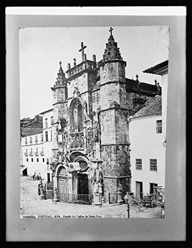Vintography 8 x 10 Reprinted Old Photo Spain. Fasada Santa Cruz Church at Coimbra 1918 National Photo Co 53a by Vintography